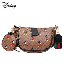 Disney – sac à bandoulière Mickey Mouse, 3 pièces, bandoulière large, imprimé de dessin animé, sacoche en matière Pu à la mode, nouvelle collection