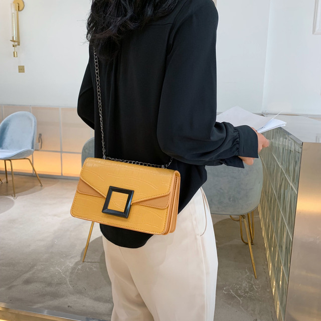 Stone Pattern PU Leather Crossbody Bags For Women 2020 Small Shoulder Messenger Bag Female Luxury Chain Handbags and Purses 3