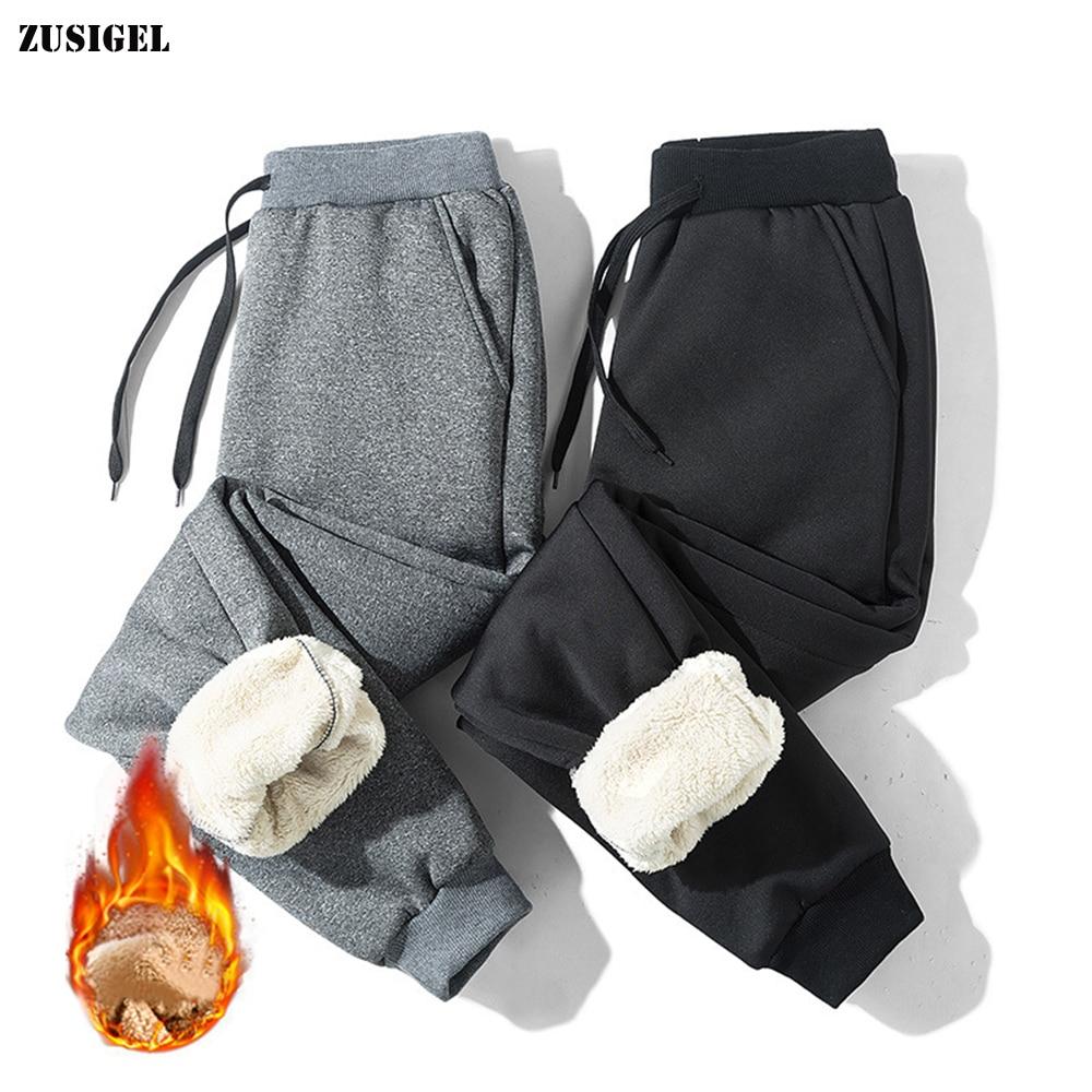 ZUSIGEL New Straight Thicken Cashmere Pants Men Middle Waist Winter Pants Men Casual Sport Loose Warm Pants Men Plus Size M-6XL