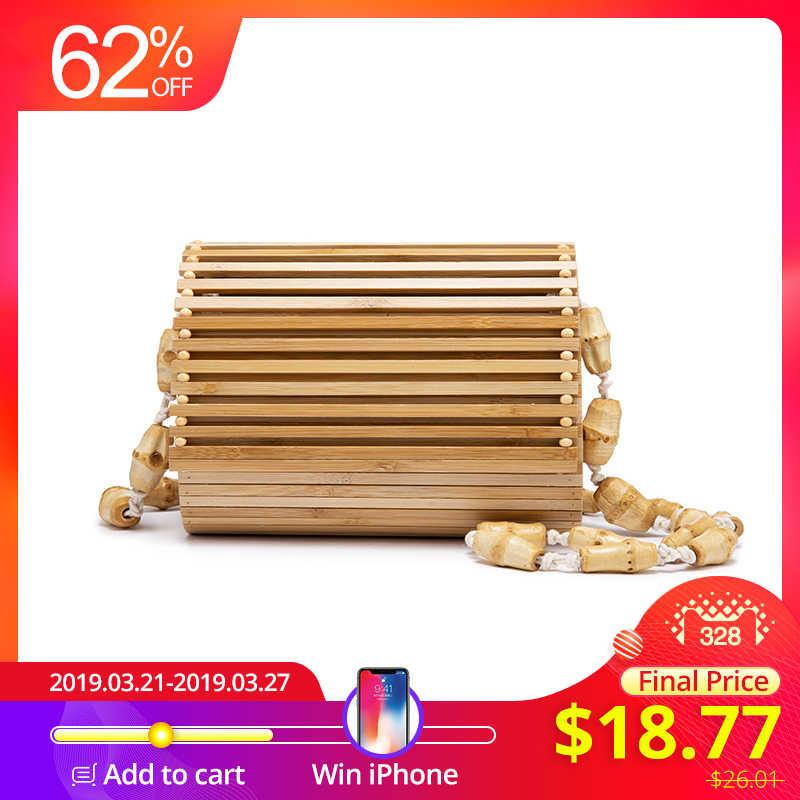 Bamboo bag high quality designer Wood fashion crossbody shoulder bag women summer 2019 beach flap ladies messenger bag