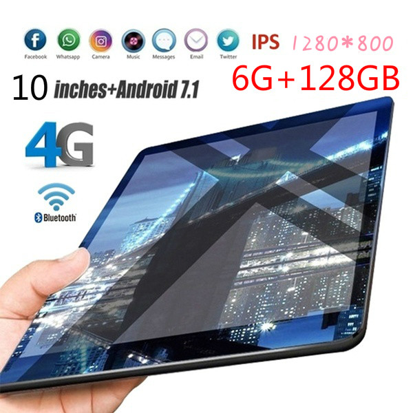 2020 6G+128GB Tablet 10 Inch Ten Core 4G Network WiFi Tablet PC Android 8.1 Screen Dual SIM Dual Camera Rear 5.0 MP