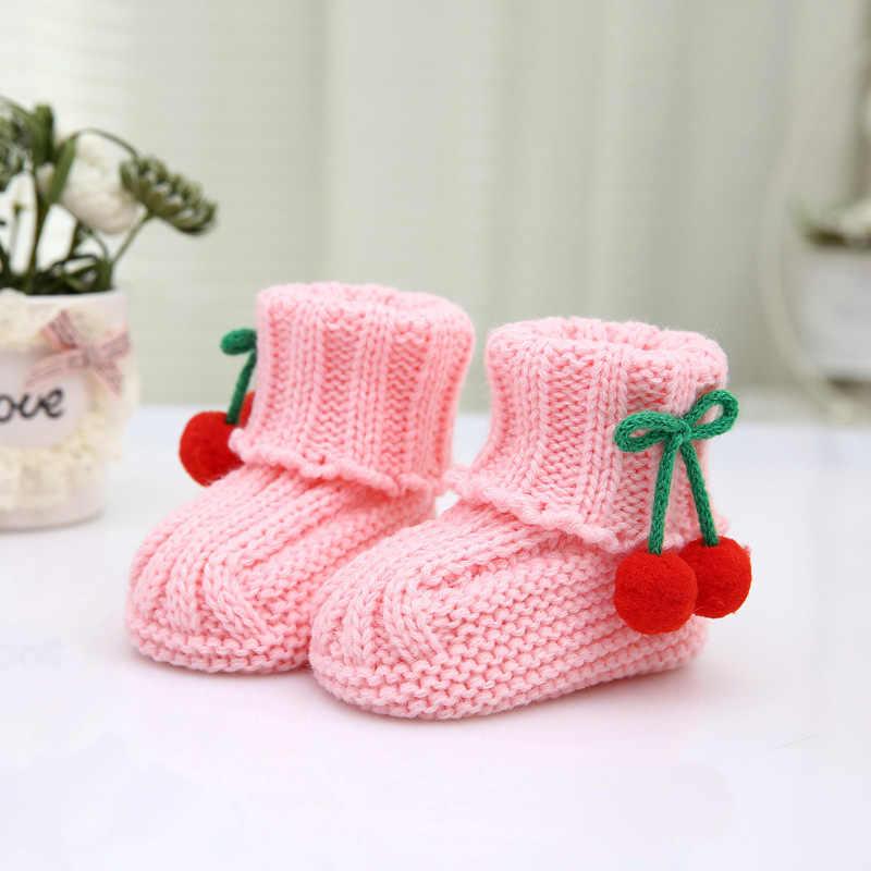 Leuke Kleurrijke Pasgeboren Zachte Baby Schoenen Gebreide Booties Winter Eerste Wandeling Pompom Warme Schoenen Voor Baby Peuter Zuigelingen Zachte Tong sokken