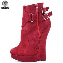 Jialuoweiรองเท้าส้นสูงรองเท้าผู้หญิง 7 นิ้วExtremeรองเท้าส้นสูงเซ็กซี่Fetish WEDGEรองเท้าส้นสูงสายรัดข้อเท้ารองเท้าขนาด 36 46