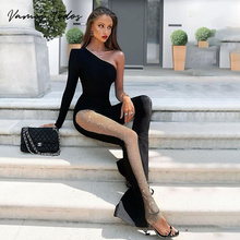 2021 Fashion High Waist Flare Pants Womens Sexy One Shoulder Glitter High Slit Jumpsuit Long Sleeve One Piece Overalls for Women