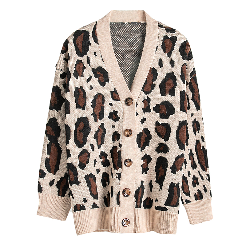 2019 Autumn Winter Leopard Print Vintage Button Cardigan Women Sweater Ladies V Neck Casual Long Sleeve Outwear Sweater Top
