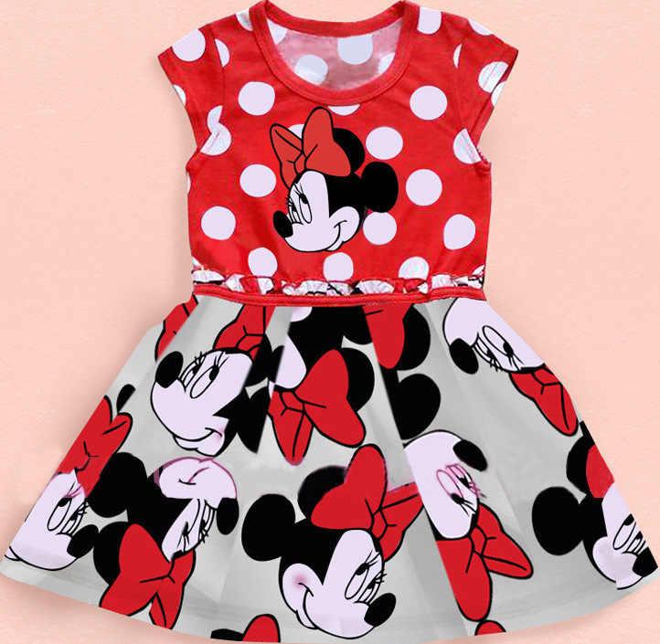 Новое милое красное платье Longuette 2018 детская одежда Минни короткий рукав в горошек дети принцесса детская повседневная одежда для девочек