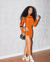 Echoine – Mini robe à col roulé pour femmes, manches longues, lettre imprimée, Sexy, slim, ajouré, trou, robes élégantes, tenues moulantes, printemps