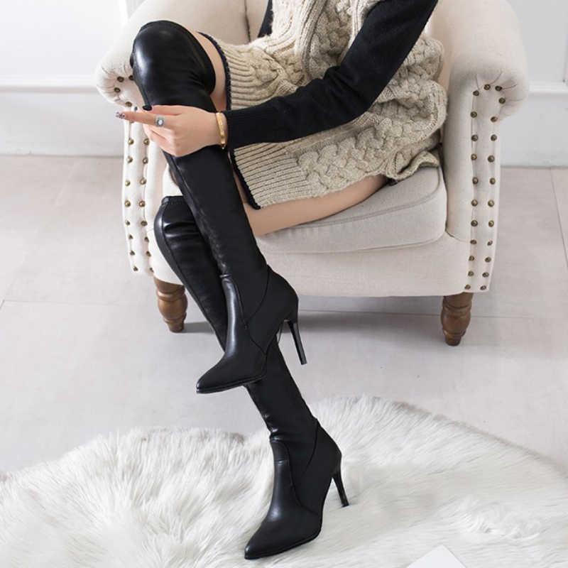 XZ0117 automne hiver femmes chaussures dame élastique Slim Sexy bottes en cuir femme mince chaussures à talons hauts femmes longues bottes sur le genou
