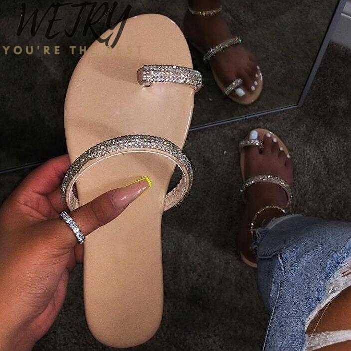 Nieuwe Strass Heldere Diamant Slippers Crystal Hollow Flat Slide Dames Open Teen Comfort Slip Op Outdoor Strand Sandalen