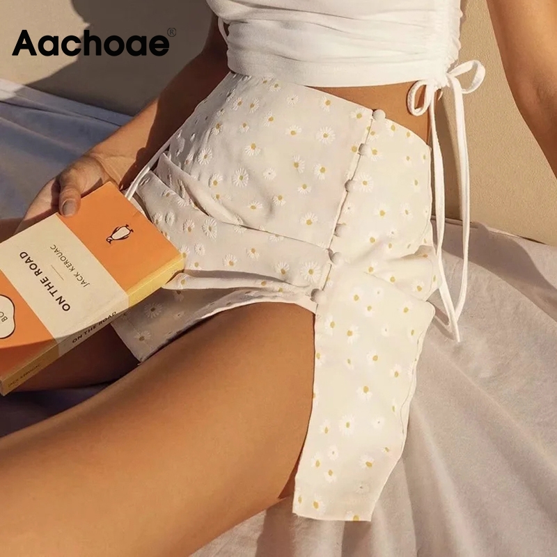 Aachoae Sexy Side Split Mini Skirt Women Summer Floral Print Boho Beach Skirts High Waist Elegant Casual Skirt With Buttons