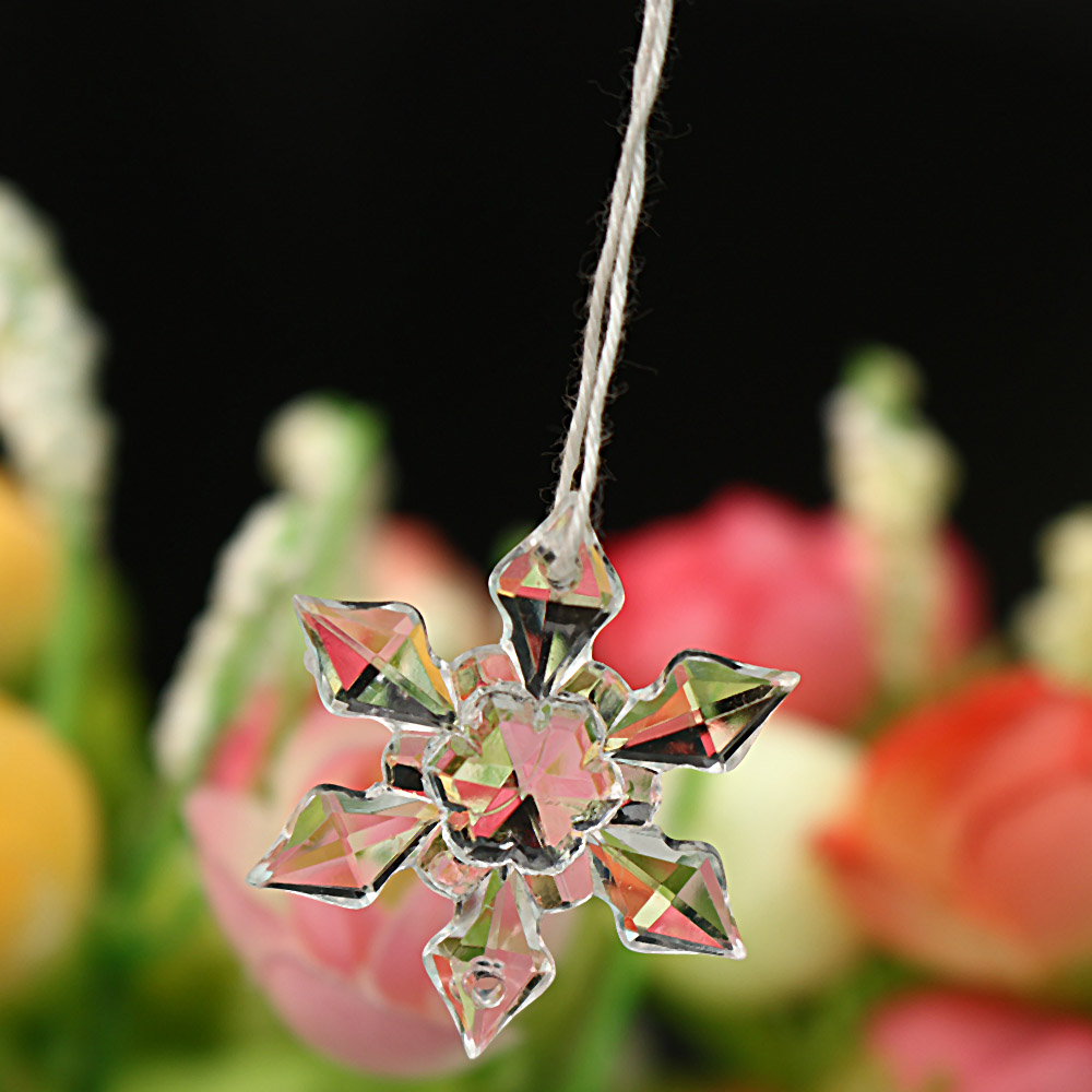 12pcs Christmas Snowflake Clear Crystal Acrylic Snow for Xmas Tree Pendant DIY Decorative Accenssory Craft Scrapbooking Decor