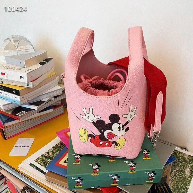 Disney women mickey mouse shoulder messenger bag cartoon pu handbag Minnie Bucket bag
