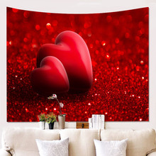 Fashion Printed Carpets Love Heart Wall Hanging Tapestry Home Decor Blanke Tablecloth Drop Shipping