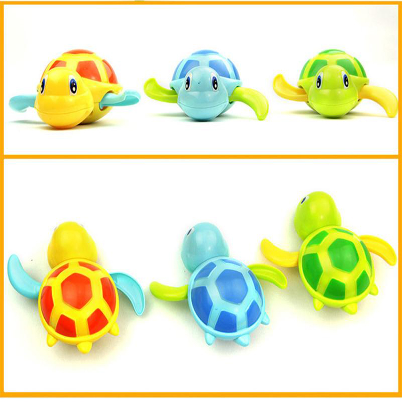 1 Pcs Baby Shower Toys Kids Cartoon Wind Up Little Turtle Swimming Toys BoyGirl Interactive Bath Toy Children Play In Water Game