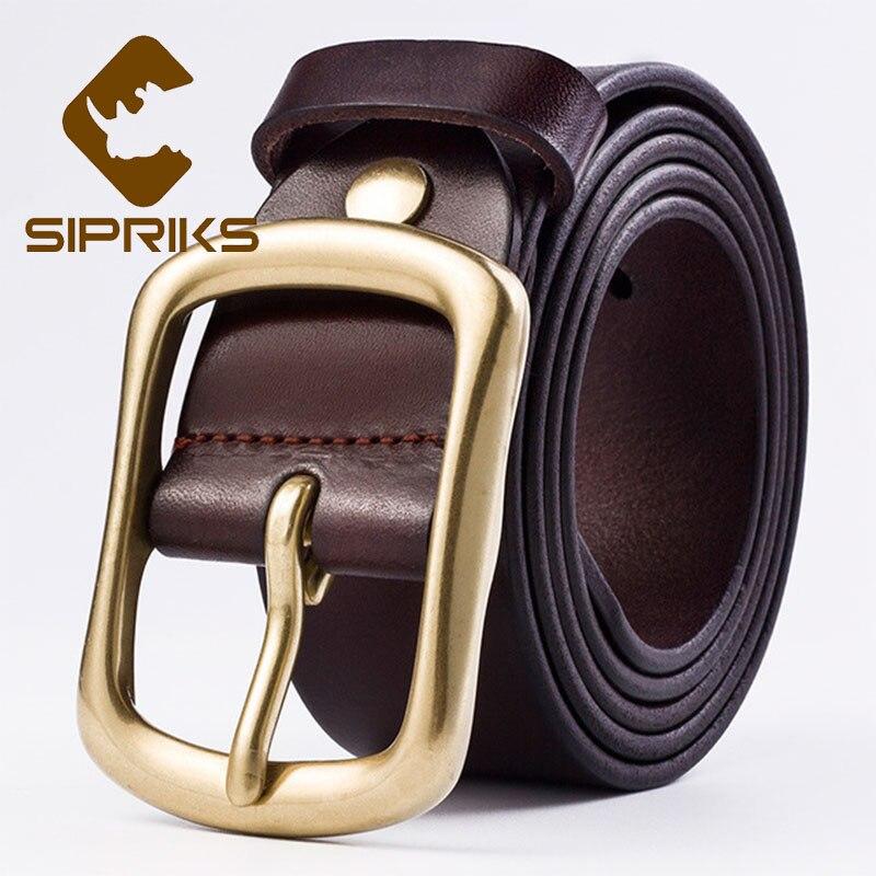 Sipriks ремни из натуральной кожи мужские Cowskin черный коричневый модный ремень мужские джинсы для мужчин ковбойский пояс медь 3,8 см 105 120 см - 2