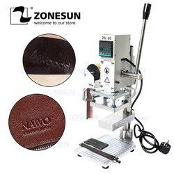 ZONESUN z płytą roboczą/skalą maszyna stemplująca gorącą folią ręczna maszyna brązująca do butów skóra pvc PU i Logo papieru
