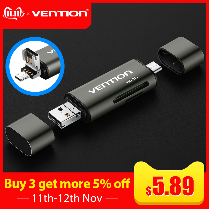 Vention Micro SD Card Reader Adapter Type C Micro USB SD Memory Card Adapter For MacBook Laptop USB 3.0 SD/TF  OTG Card Reader