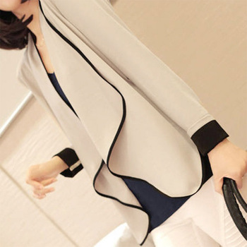Women Ladies Casual Slim Irregular Shoulder Pads Suit Splice Style Cardigan
