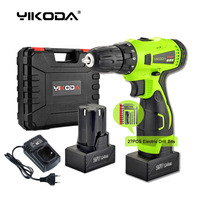25v Cordless Drill Rechargeable Hand Electric Drill DIY Screwdriver Power Tools Two Lithium Battery Plastic Case Accessory