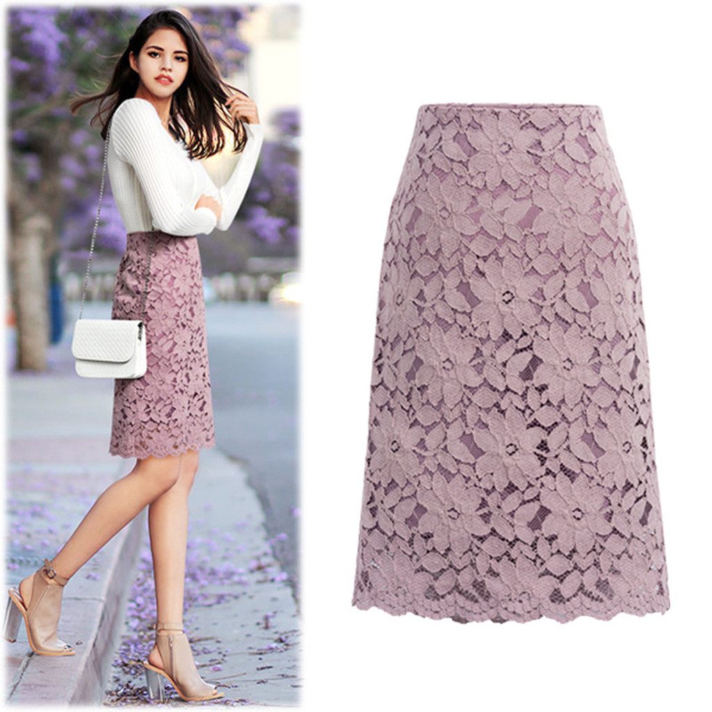 Plus Size Women Skirt Women Hollow Out Lace Solid Fitness Skirts Autumn Fashion Knee Length Pencil Skirts Ladies Midi Skirt#1015