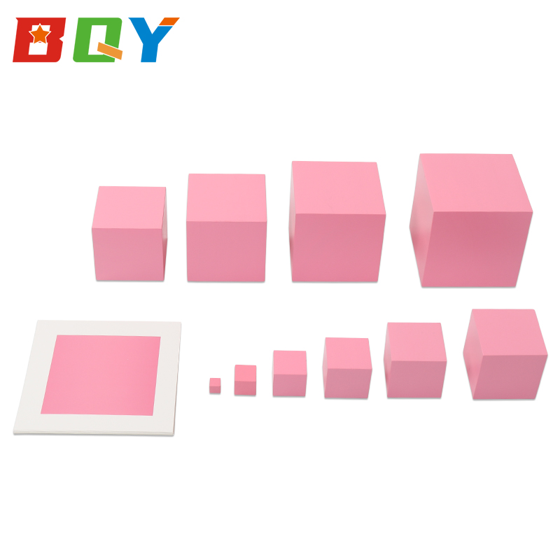 BQY Pink Tower With 10Pcs Stand Cards Preschool Kids Math Teaching Professional Montessori Learning Toys Brinquedos Juguetes