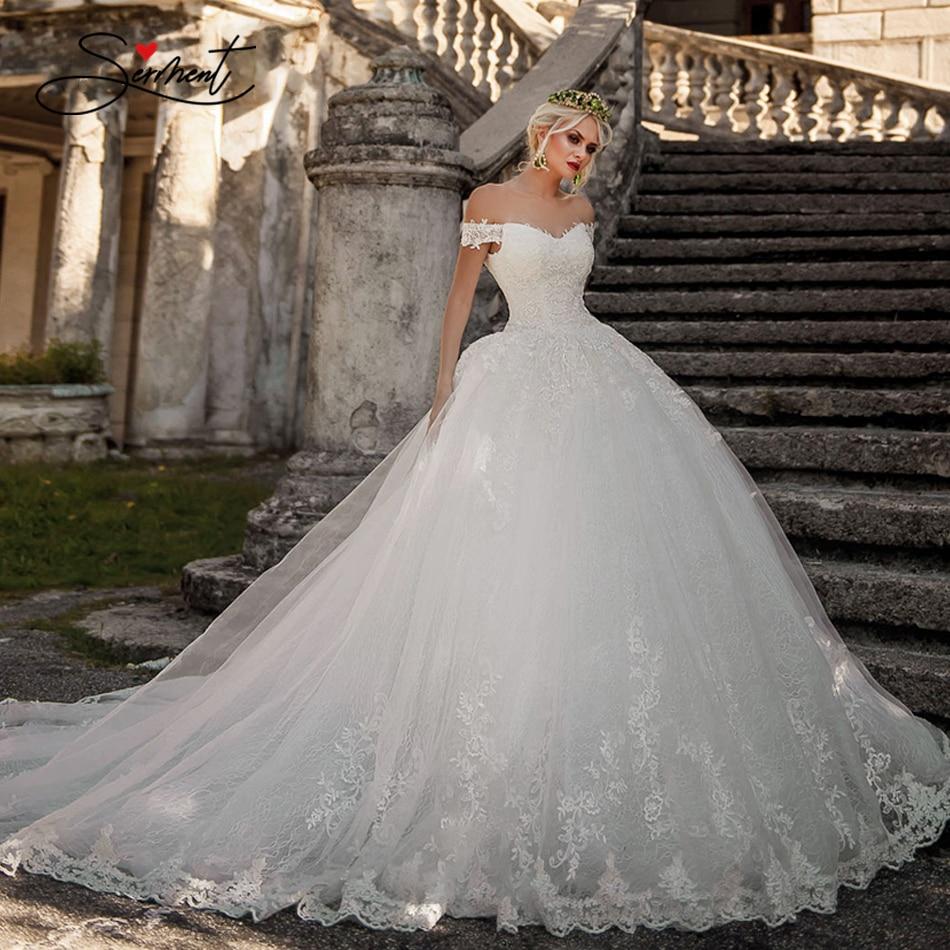 wedding : BAZIIINGAAA  Luxury Wedding Dress V-neck Card Shoulder Wedding Dress Sexy Backless 3D Decal Bride Support Tailor-made