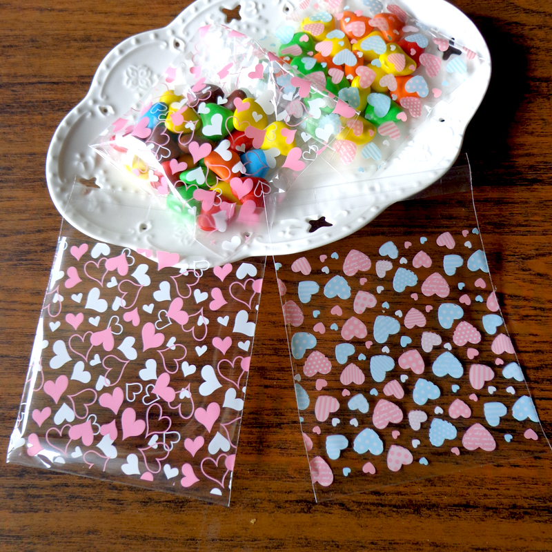 100pcs 10x10cm Pink Blue Heart Transparent Opp Plastic Bags For Candy Cookie Cellophane Bag Stationery Plastic Envelope