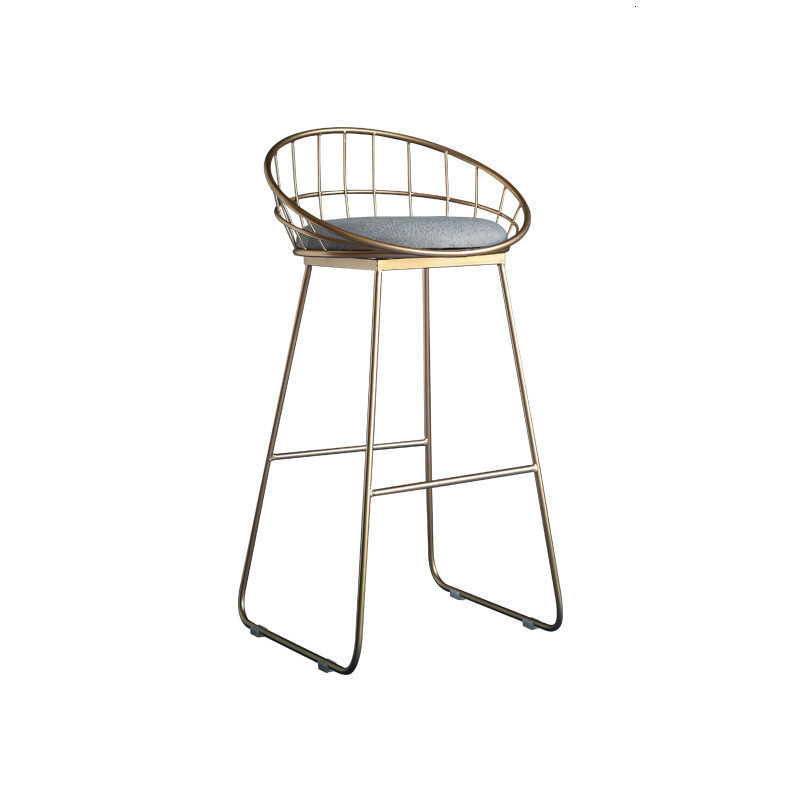 Europe Wrought Iron Bar Bar Counter Chair Concise Leisure Time Dining Chair Originality Golden High Footstool Restaurant Chair