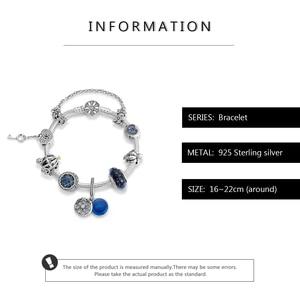 Image 3 - Murano glass blue pendant 925 Sterling Silver Charm snake bone chain Bracelets sparkling Beads fashion jewelry women accessories