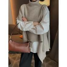 Осенне зимний пуловер с высоким воротником свитер жилет женский