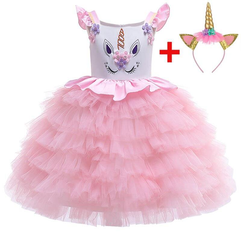2019 Toddler Baby Girls Unicorn Dress Girl Kids Dresses For Girls Clothes Princess Dress Party Wedding Tutu Dress 3 7 8 10 Year