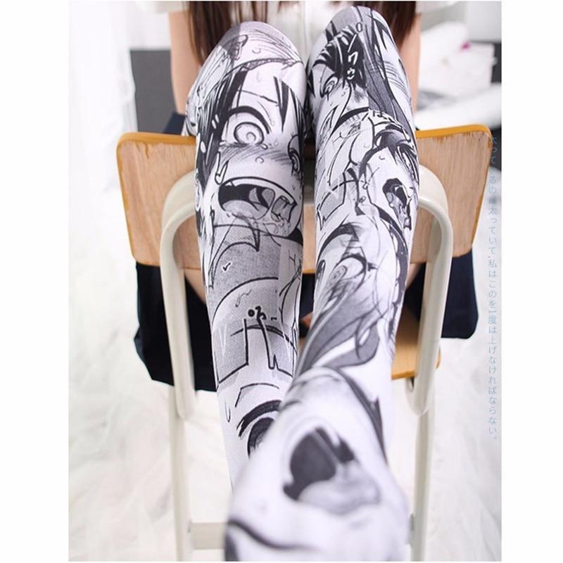1 Pair Fashion Women Sexy Thin Stockings 3D Anime Cartoon Printed Knee Socks Fun Devil Girl Long Socks Stockings SW07