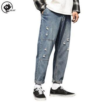 Little Raindrop Men's Jeans Light Wash Distressed Design Jeans New Hole Pleated Decorative Jean Mid Waist Zipper Pants Jeans star print hemming design distressed zipper fly straight leg jeans