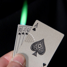 Metal Lighter Jet-Torch Funny-Toys Playing-Cards Counterfeit-Light Butane Creative Windproof