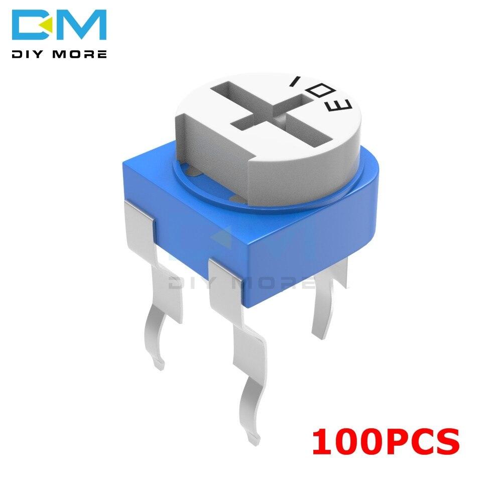 100 pces 100r 200r 500r 1k 2k 2.2k 3k 5k 10k 20k 50k 100k 500k 1m ohm resistor variável RM-065 rm065 trimpot trimpot trimpot potenciômetro