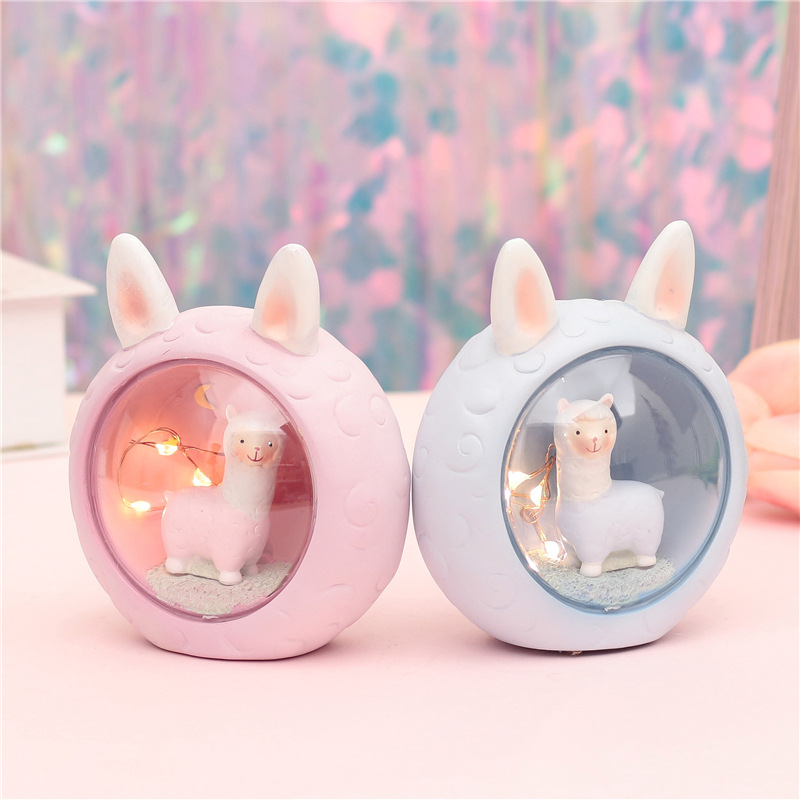 Cute Alpaca Novetly Lights Bedroom Bedside Resin Cartoon Sheep Lamps Home Decoration Lights Chrismas Gift Toy For Kids