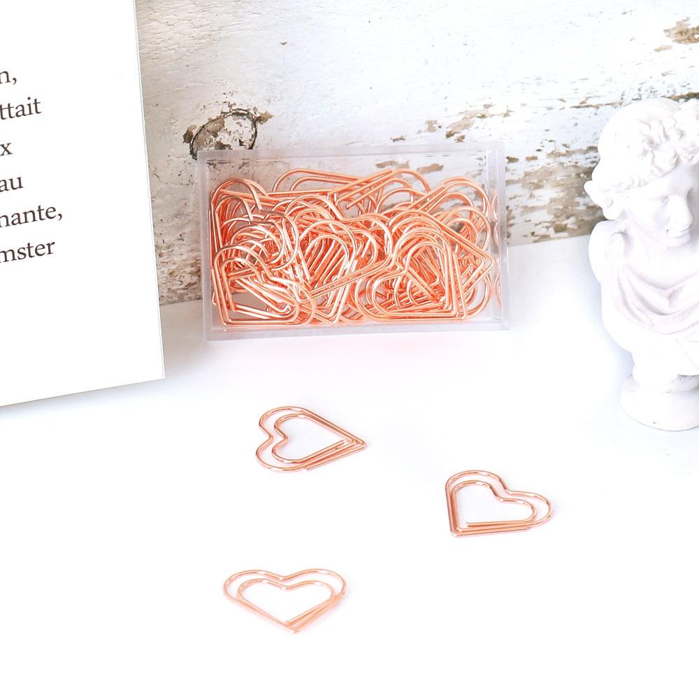 TUTU 30pcs/set heart Bookmark Metal Paper Clip Decor Rose Gold Colorfur Book Note Decoration Binder Clip Stationery H0405 4