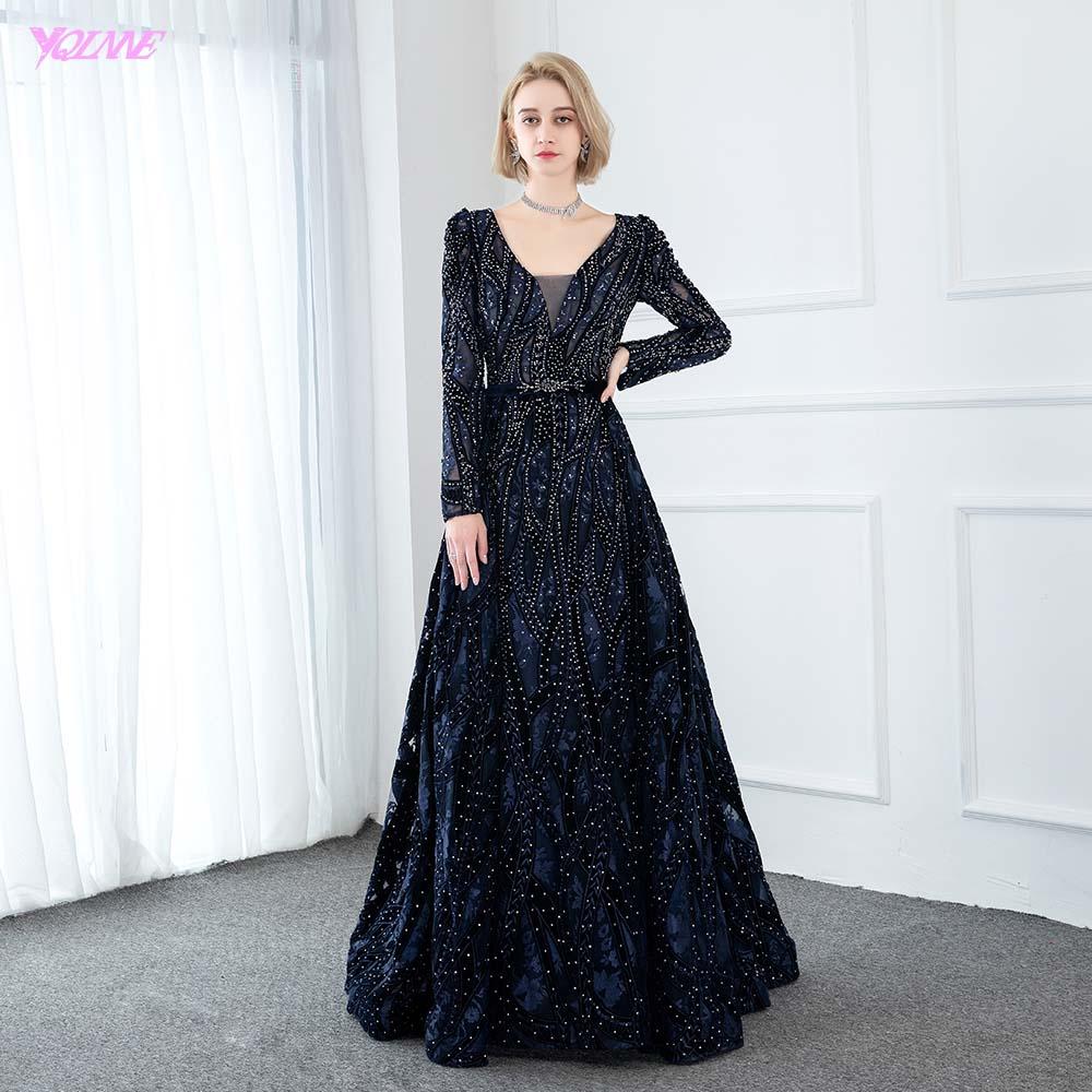 2020 New Collection Dubai Navy Full Sleeve Evening Dresses Long Formal Evening  Gowns Velvet V Neck Diamonds