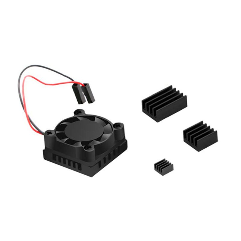 1Set Cooling Fan Radiator Cooler Aluminum Heatsinks For Raspberry Pi 4B Kit D08B