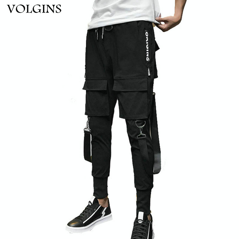 Streetwear Men Ribbons Color Block Black Pocket Cargo Pants 2020 Harem Joggers Harajuku Sweatpant Hip Hop Trousers Casual Pants