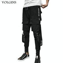 Streetwear Men Ribbons Color Block Black Pocket Cargo Pants