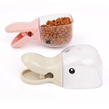 Cute Pet Food Spoon Measuring Cup Multifunction Bag Sealing Clip Cat Dog Snack Feeding Scoop Water Bowl