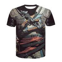 2019 nuevo diseño de Cloudstyle camiseta para hombre 3D Gun Warrior camiseta estampada cuchillo Harajuku Tops Camiseta de manga corta fitness camiseta