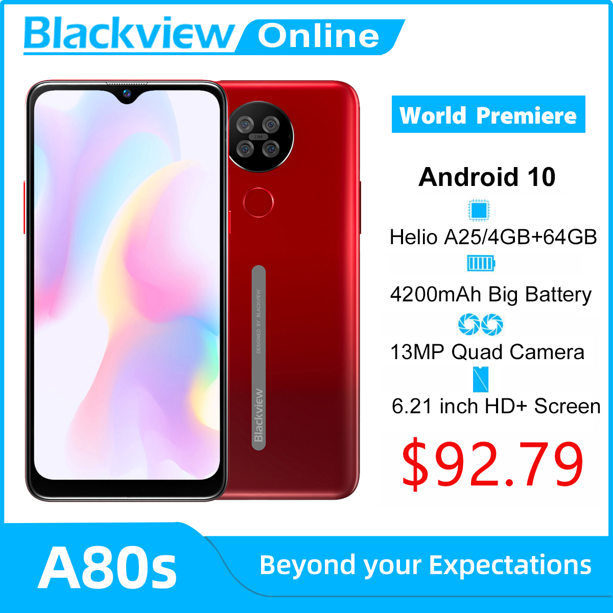 Blackview A80s Android 10 Smartphone 4GB RAM + 64GB ROM Octa Core 13MP caméra arrière 4200mAh visage empreinte digitale déverrouiller 4G téléphone portable