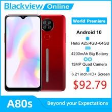 Blackview A80s Android 10 Smartphone 4GB RAM + 64GB ROM Octa Core 13MP Hinten Kamera 4200mAh Gesicht fingerprint Entsperren 4G Handy