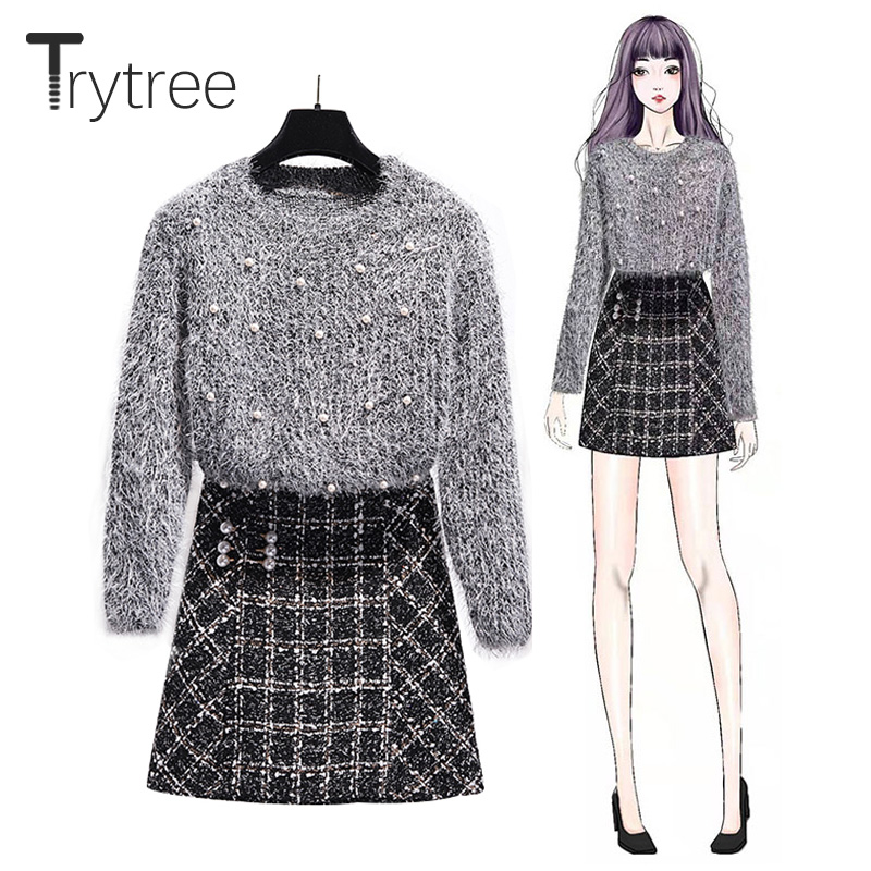 Trytree Autumn Winter Tow Piece Set Casual Fashion O-neck Beading Plush Top + Skirt Pearls Plaid Blends Office Lady 2 Piece Set