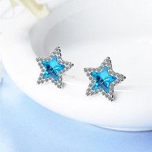 Новые простые серьги гвоздики с синими кристаллами и пятиконечной