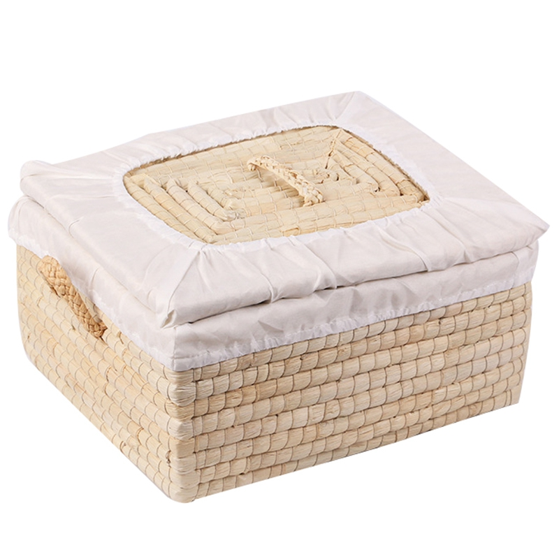 Straw Woven Storage Basket Handmade Woven Basket Rustic Natural Bread Buns Food Storage Decorative Box Multifunctional Square St
