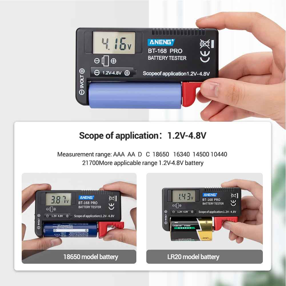 Plastic LCD Digital Volt Checking Diagnostic Tool Measurement Electrical Portable Battery Tester Small Universal Pointer image