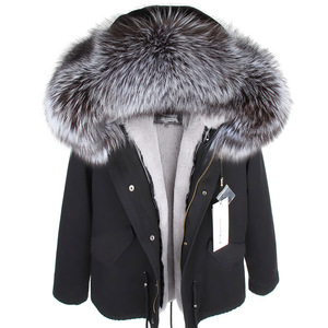 Image 1 - MMK real fur coat new fashion Real fox fur collar winter womens clothing Removable thickened jacket Short pike coat